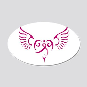 Breast Cancer Awareness Angel Heart 20x12 Oval Wal
