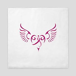Breast Cancer Awareness Angel Heart Queen Duvet