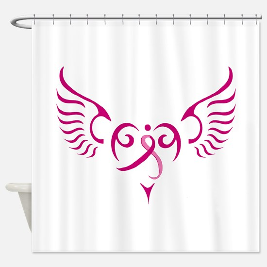 Breast Cancer Awareness Angel Heart Shower Curtain