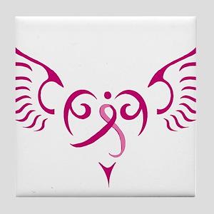 Breast Cancer Awareness Angel Heart Tile Coaster