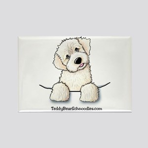 White Schnoodle Pocket Rectangle Magnet