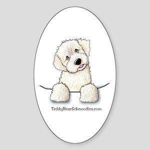 White Schnoodle Pocket Oval Sticker