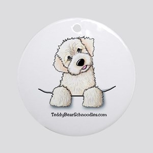 White Schnoodle Pocket Ornament (Round)