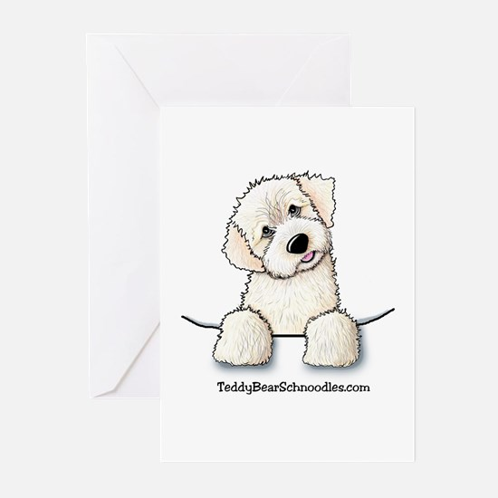 White Schnoodle Pocket Greeting Cards (Package of