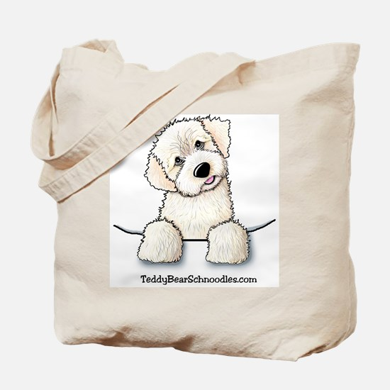 White Schnoodle Pocket Tote Bag