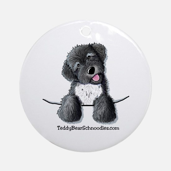 Pocket Black Schnoodle Ornament (Round)