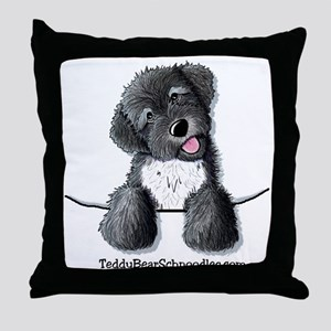Pocket Black Schnoodle Throw Pillow