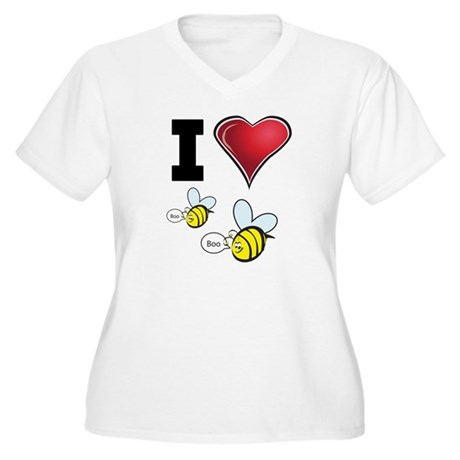 I Love Boo Bees Women's Plus Size V-Neck T-Shirt