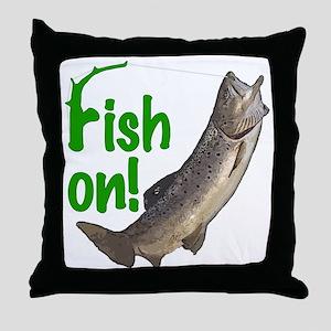 Fish on! 3 Throw Pillow
