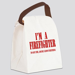 Im a firefighter red Canvas Lunch Bag