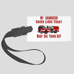 savedlivesfiregrandson Large Luggage Tag