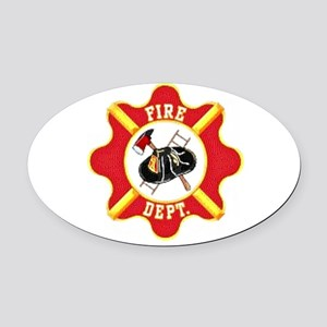 Firefighters Oval Car Magnet