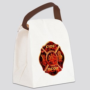 red flame maltese copy Canvas Lunch Bag