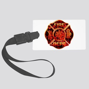 red flame maltese copy Large Luggage Tag