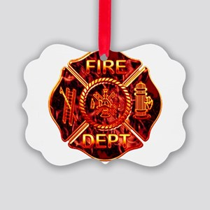 red flame maltese copy Picture Ornament