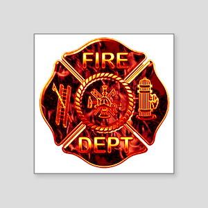 """red flame maltese copy Square Sticker 3"""" x 3"""""""
