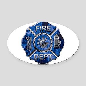 Blue flame maltese copy Oval Car Magnet