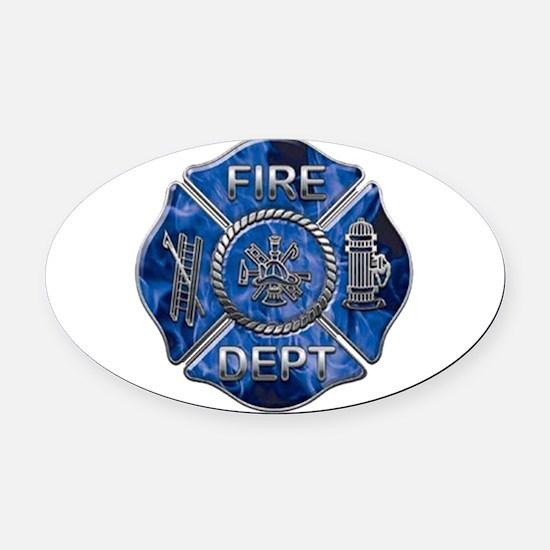 Blue flame maltese copy.png Oval Car Magnet