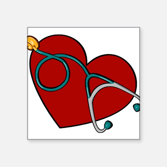 "Heartstethiscope.jpg Square Sticker 3"" x 3"""