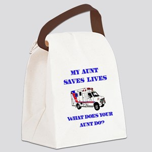 saveslivesambulanceaunt Canvas Lunch Bag