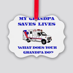saveslivesambulancegrandpa Picture Ornament