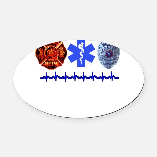 3badges.png Oval Car Magnet