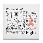 Uterine Cancer Words Tile Coaster