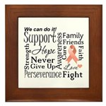 Uterine Cancer Words Framed Tile
