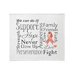 Uterine Cancer Words Throw Blanket