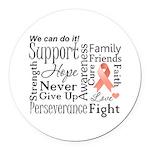 Uterine Cancer Words Round Car Magnet