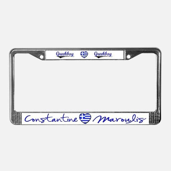 I &hearts Greekboy License Plate Frame