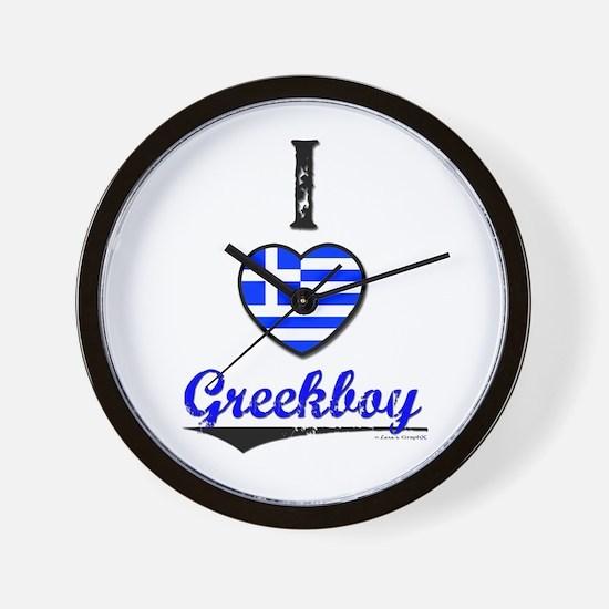 I &hearts Greekboy Wall Clock