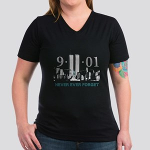 Never Ever Forget Women's V-Neck Dark T-Shirt