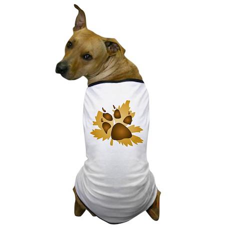 Pawprint On Leaf Dog T-Shirt