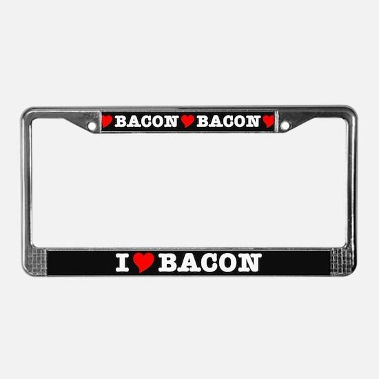 Bacon I Love Heart License Plate Frame