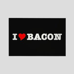 Bacon I Love Heart Rectangle Magnet