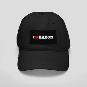 Bacon I Love Heart Black Cap