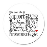 Mesothelioma Cancer Words Round Car Magnet