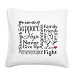 Mesothelioma Cancer Words Square Canvas Pillow