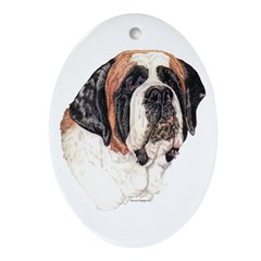 Saint Bernard Oval Ornament