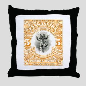 1922 Tanganyika Giraffe Stamp Orange Throw Pillow