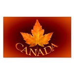 Canada Souvenir Red Gold Sticker (Rectangle 50 pk)