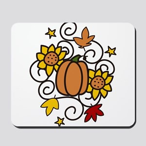 Pumpkin And Flowers Mousepad