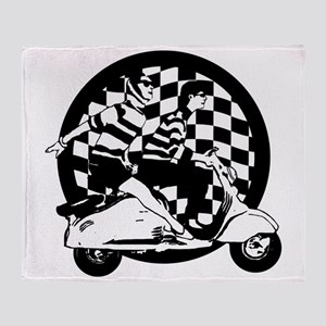 Retro Scooter Boy and Girl Check Throw Blanket
