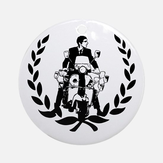 Retro Scooter Rider on Laurel Ornament (Round)