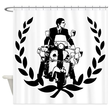 Retro Scooter Rider On Laurel Shower Curtain By ScooterTees