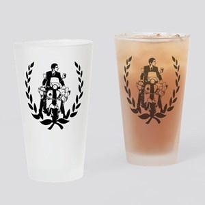 Retro Scooter Rider on Laurel Drinking Glass