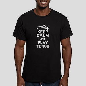 Keep Calm Play Tenor Men's Fitted T-Shirt (dark)