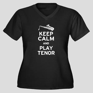 Keep Calm Play Tenor Women's Plus Size V-Neck Dark