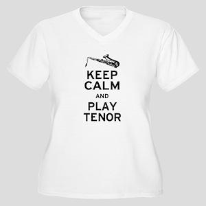 Keep Calm Play Tenor Women's Plus Size V-Neck T-Sh